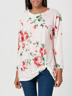Front Knot Floral Print Tunic T-shirt - Light Pink Xl
