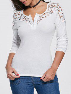 Crochet Lace Insert Long Sleeve Top - White M