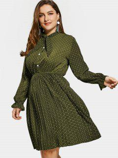 Plus Size Bow Polka Dot Dress - Army Green 4xl