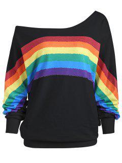 Rainbow Print Plus Size One Shoulder Top - Black Xl