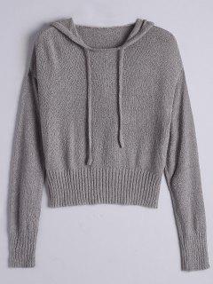 Pullover Drawstring Hooded Knitwear - Gray S