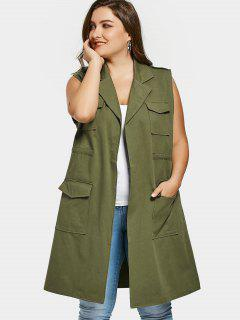 Pockets Lapel Collar Plus Size Waistcoat - Army Green 2xl