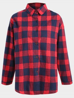 Button Up Checked Plus Size Shirt - Blue And Red 2xl
