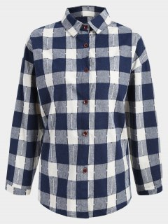 Button Up Checked Plus Size Shirt - Blue And White 2xl