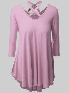 Plus Size Criss Cross High Low Tee - Pink 2xl