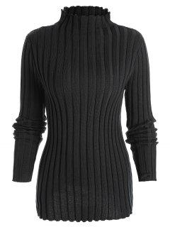 Plus Size Ribbed High Neck Sweater - Black 2xl