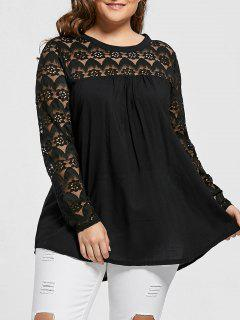 Lace Trim Plus Size Sheer Tunic Top - Black 4xl