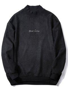 Crew Neck Graphic Print Suede Sweatshirt - Black L