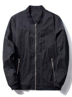 Stand Collar Zip Pocket Bomber Jacket - Black L