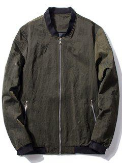 Stand Collar Zip Pocket Bomber Jacket - Blackish Green L