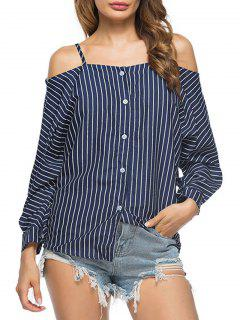 Striped Cold Shoulder Tunika Bluse - Dunkelblau M