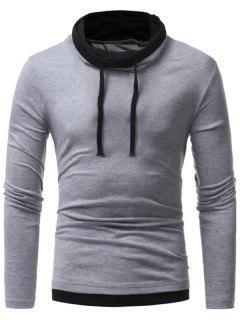 Cuello De Capucha Faux Twinset Drawstring T-shirt - Gris L