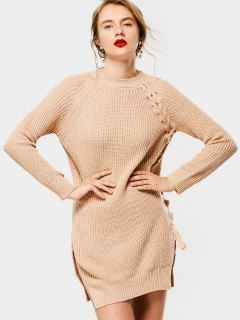 Slit Long Raglan Sleeve Lace Up Sweater - Apricot
