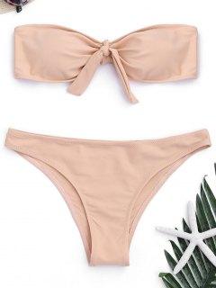 Padded Front Tied Bandeau Bikini - Pinkbeige M