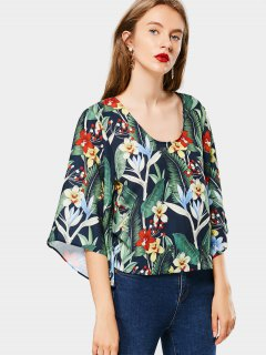Kimono Sleeve Floral Cut Out Blouse - Floral S