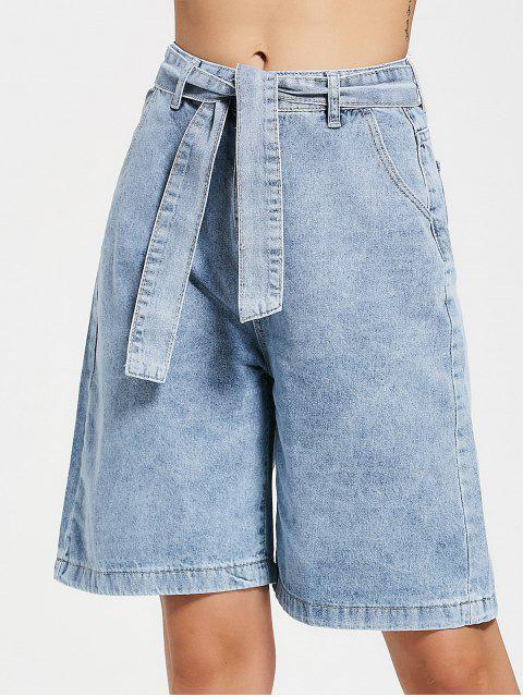latest Fifth Belted Wide Leg Denim Shorts - DENIM BLUE M Mobile