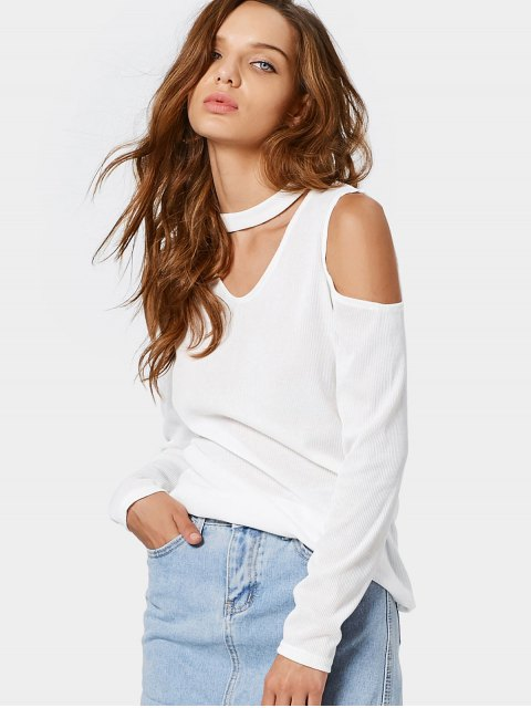 womens Knitted Cold Shoulder Choker Top - WHITE L Mobile