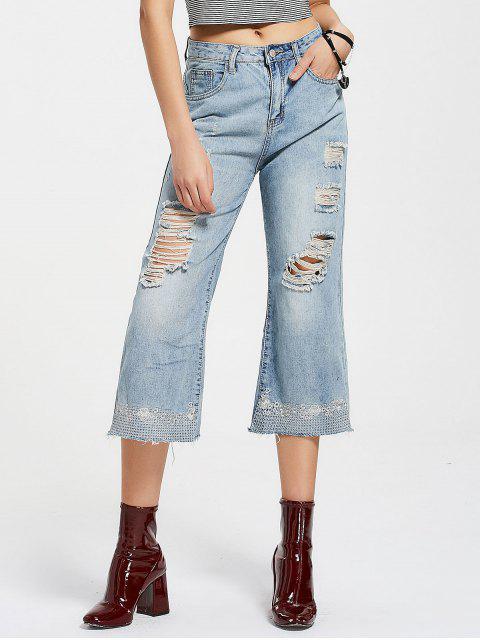 Jeans à jambe large détruit brodé - Denim Bleu XL Mobile