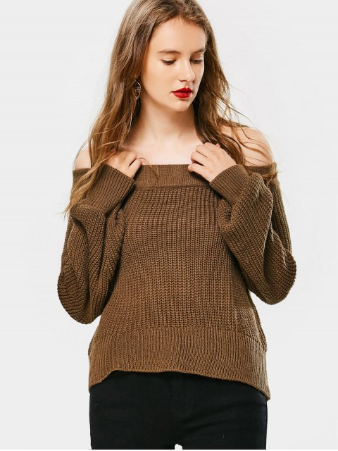 Laterne Ärmel aus Schulter Chunky Pullover - Kaffee Eine Größe Mobile