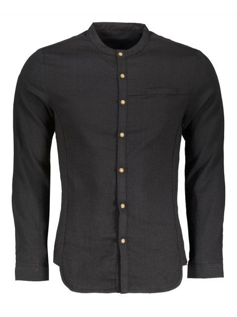 hot Stand Collar Button Up Shirt - BLACK XL Mobile