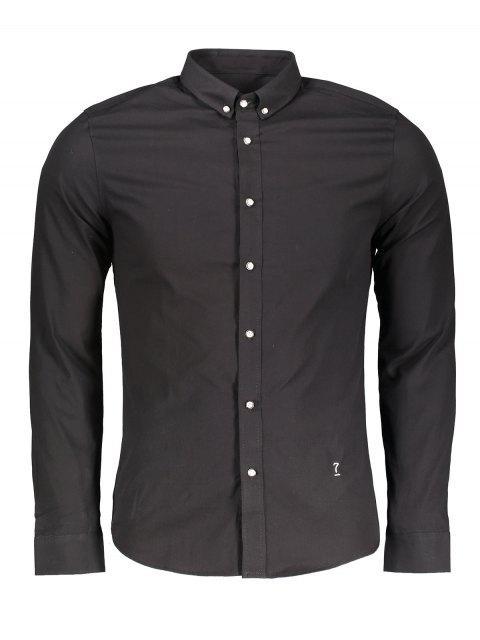 sale Button Down Formal Shirt - BLACK 3XL Mobile