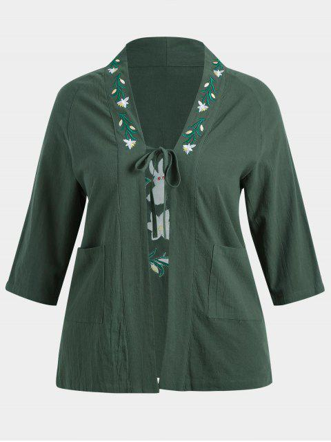 womens Plus Size Flower Embroidered Kimono - DEEP GREEN 3XL Mobile