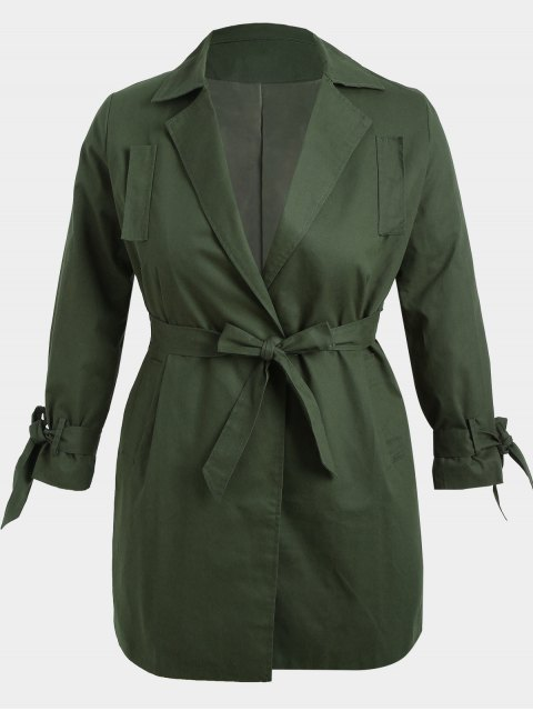 best Plus Size Wrap Coat - ARMY GREEN XL Mobile