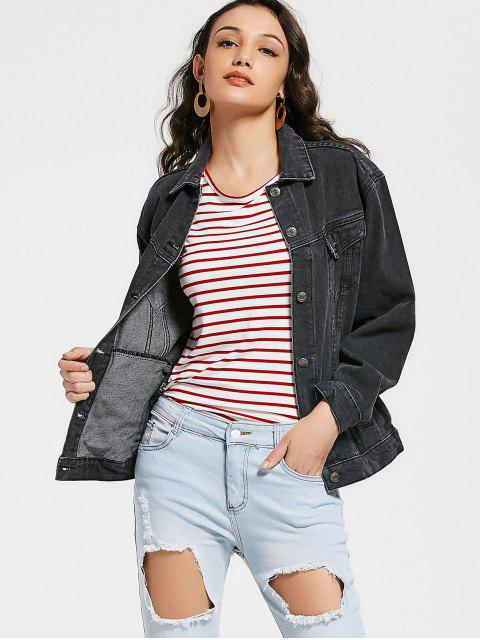 chic Button Up Jean Jacket with Pockets - BLACK M Mobile