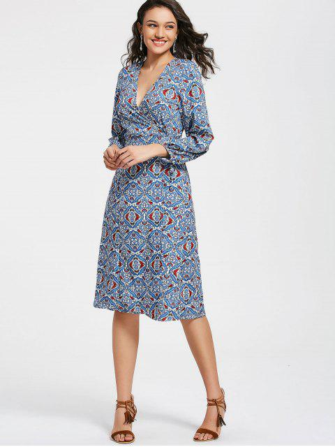 women's Floral Long Sleeve Wrap Midi Dress - FLORAL L Mobile