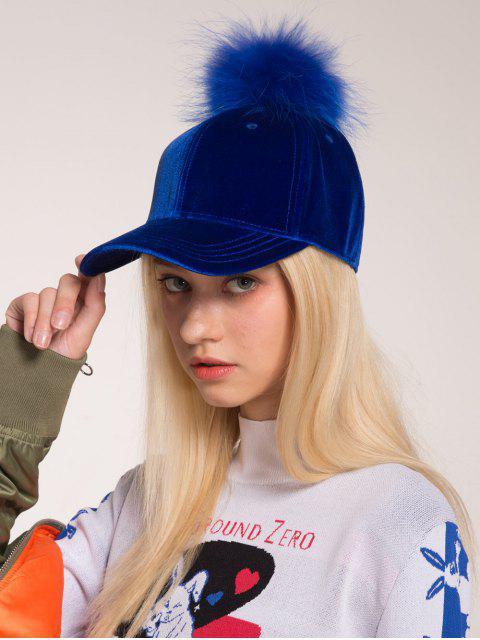 Sombrero de béisbol embellecido de la bola del pompon - Azul Zafiro  Mobile