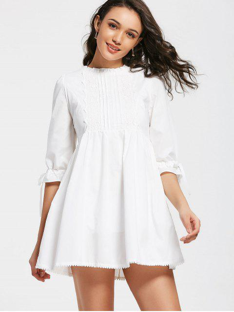 fashion Bow Tied Lace Panel Ruffles Mini Dress - WHITE M Mobile