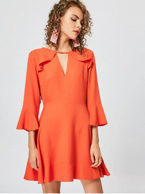 affordable Cut Out Ruffles Keyhole Skater Dress - ORANGE XL Mobile