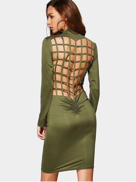 fashion Ruched Back Cut Out Club Bodycon Dress - ARMY GREEN S Mobile