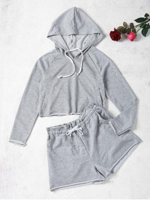 womens Marled Hoodie and Sweat Shorts Set - GRAY L Mobile