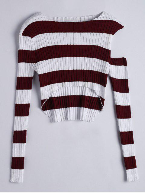 Tricot à Rayures Cut Out Asymétriques - Pourpre  Taille Unique Mobile
