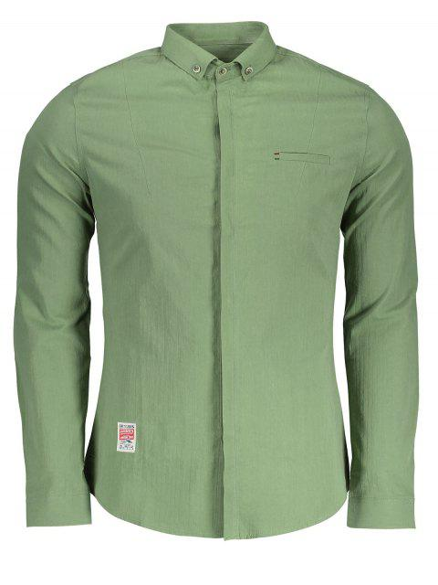 best Applique Button Down Shirt - GREEN XL Mobile