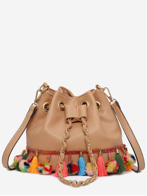 sale Tassels Pom Pom Drawstring Bucket Bag - LIGHT BROWN  Mobile