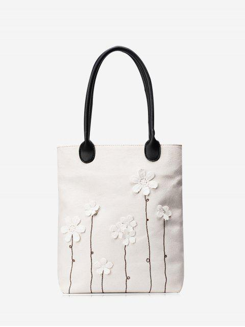 outfits Canvas Flower Embellishment Shoulder Bag - WHITE  Mobile