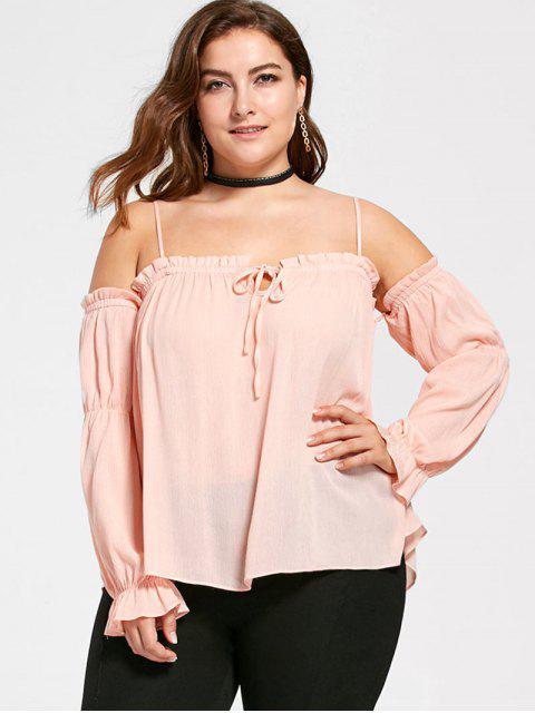 Übergröße Schulterfreie Bluse mit Volants - orange pink  5XL Mobile