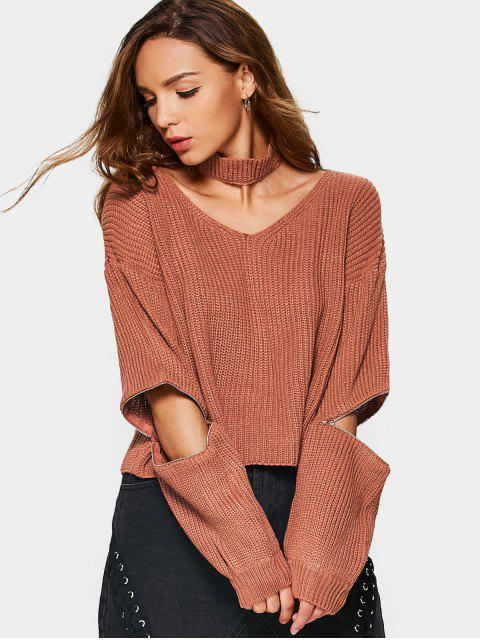 sale Zipper Sleeve Chunky Choker Sweater - SPICE ONE SIZE Mobile