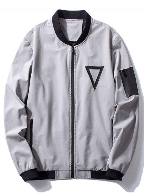 outfit Stand Collar Triangle Embroidered Bomber Jacket - GRAY XL Mobile