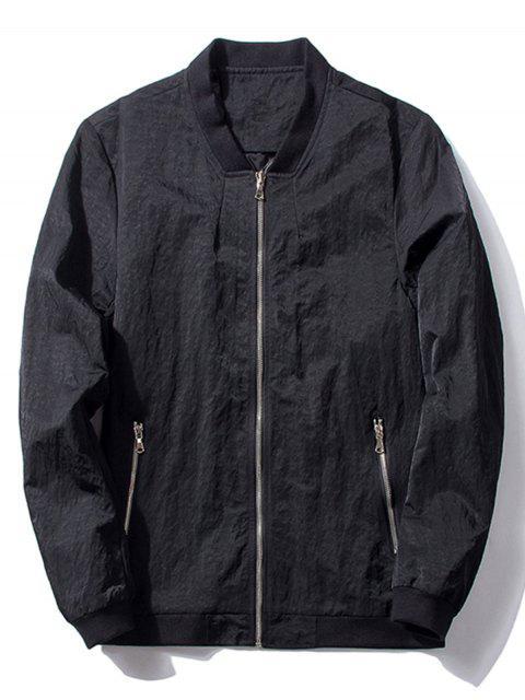 fancy Stand Collar Zip Pocket Bomber Jacket - BLACK L Mobile