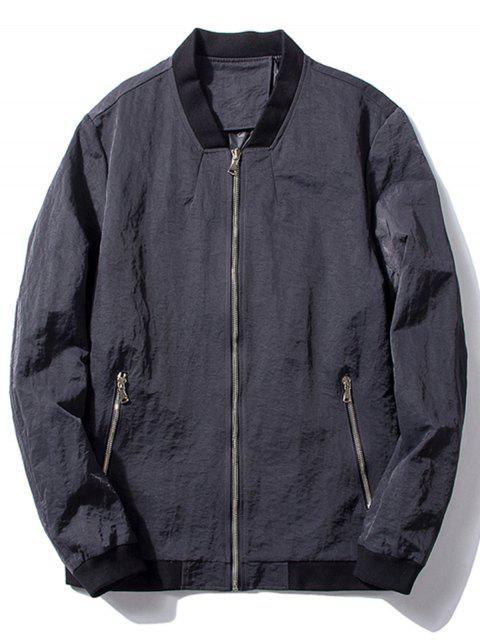 women's Stand Collar Zip Pocket Bomber Jacket - GRAY L Mobile