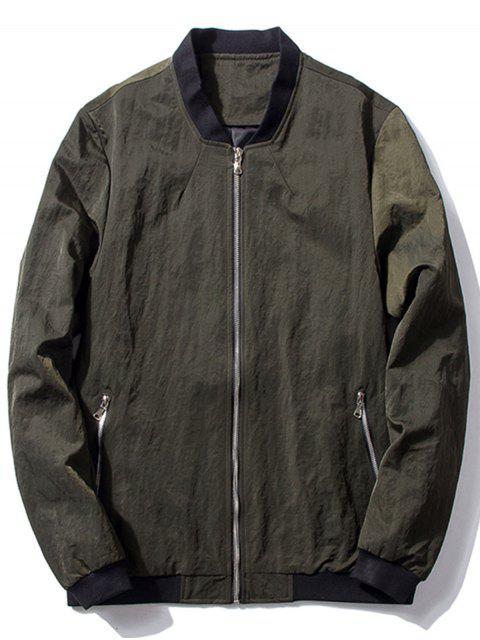 hot Stand Collar Zip Pocket Bomber Jacket - BLACKISH GREEN M Mobile