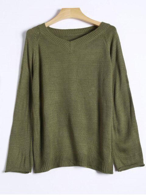 chic Raglan Sleeve V Neck Knit Sweater - GREEN ONE SIZE Mobile