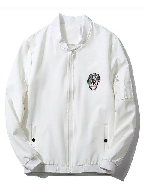 fashion Stand Collar Badge Zip Pocket Bomber Jacket - WHITE XL Mobile