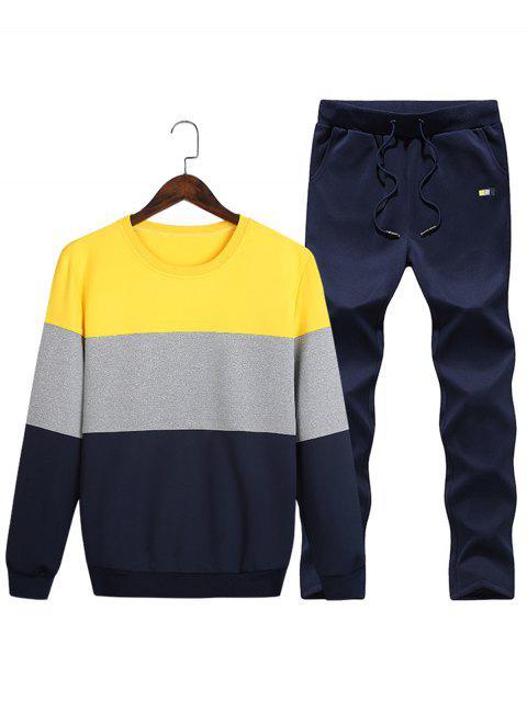 Rundhalsausschnitt Farbblock Vlies Sweatshirt Zweibettzimmer - Gelb 2XL Mobile