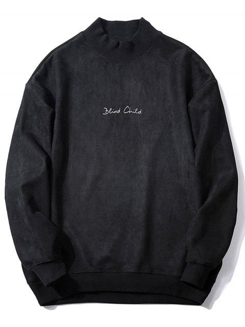 Sweat-shirt Ras du Cou Imprimé à Lettre en Suède - Noir M Mobile
