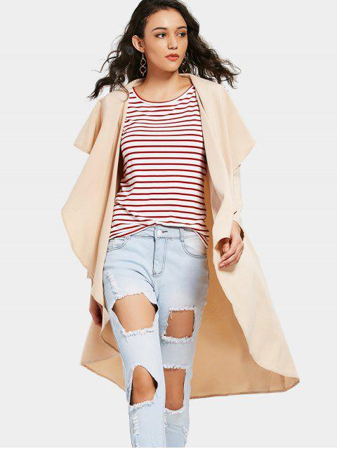 ladies Asymmetrical Open Front Trench Coat - APRICOT S Mobile