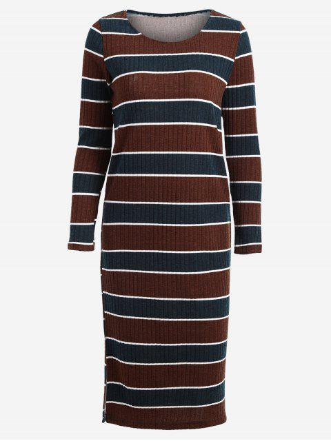 outfit Long Sleeve Stripes Sweater Midi Dress - STRIPE L Mobile